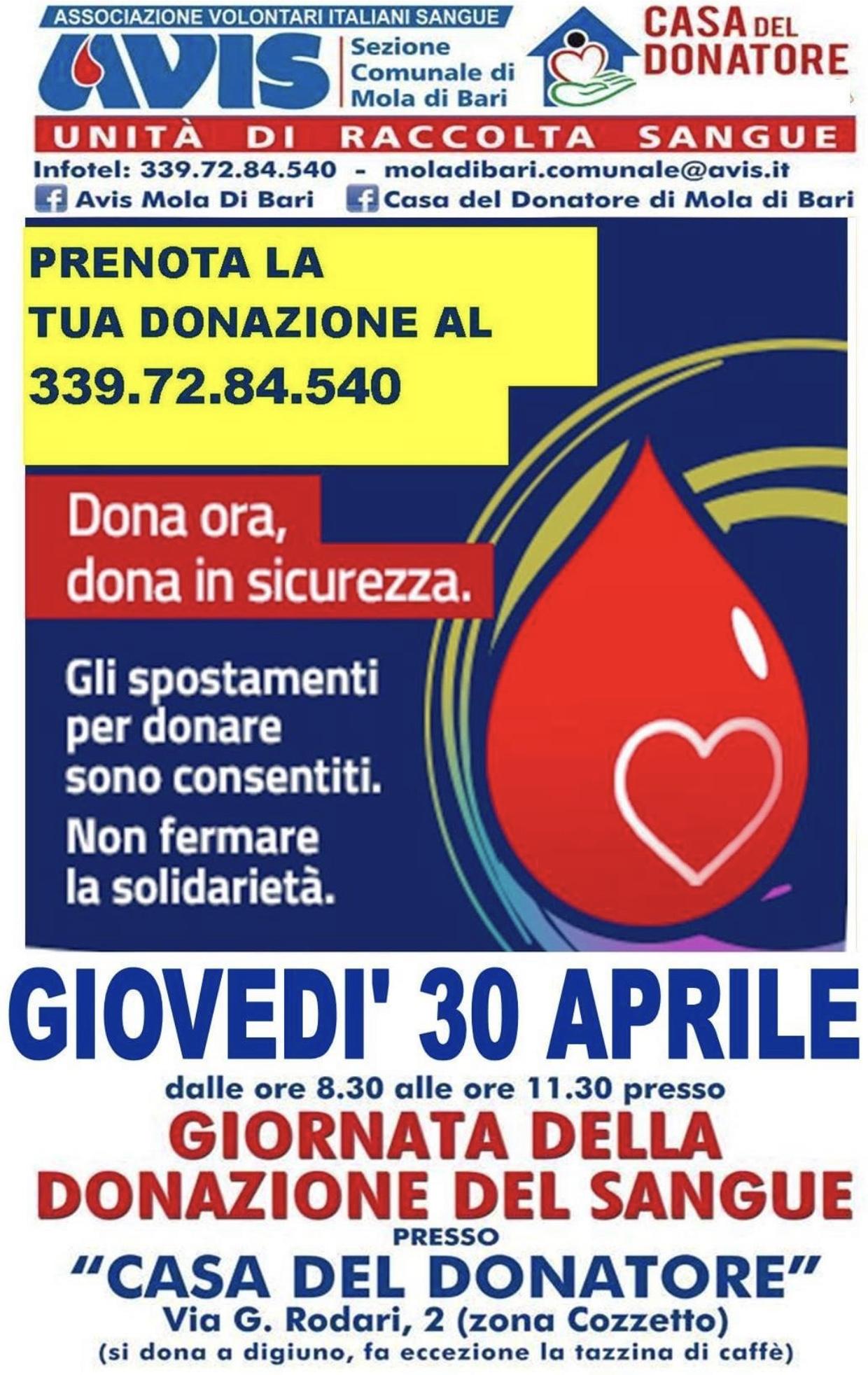 Mola di Bari donazione sangue